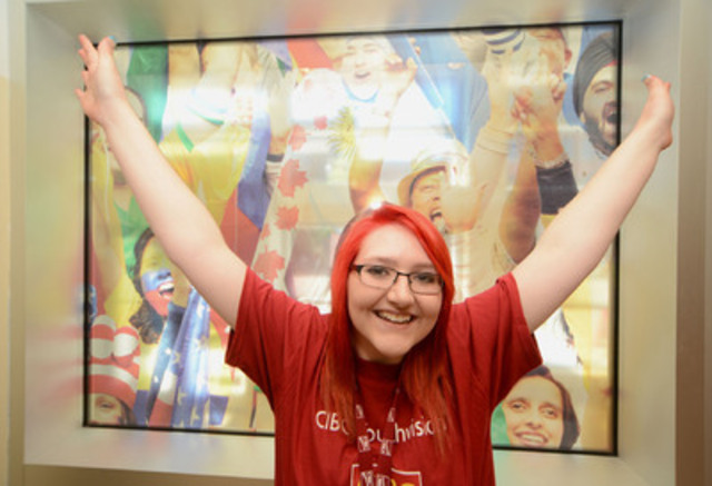 Grade 10 student Sara Lavoie of Saskatchewan celebrates winning 2013 CIBC Youthvision Scholarship. Sara is one ...