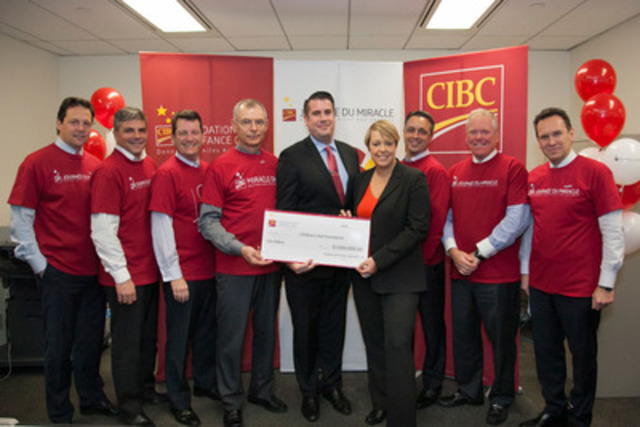 CIBC presents $1 million cheque to the Children's Aid Foundation. Left to Right, Martin Corbeil, Yanick Brochu, Charles Martel, Jean Morin, Richard Lefebvre, Children's Aid Foundation, Isabelle Lévesque, Fondation Centre jeunesse de Montréal, Frédéric Théorêt, Jean Raymond, and Françoys Levert. (CNW Group/Canadian Imperial Bank of Commerce)