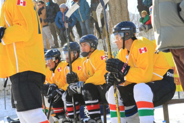 Getting ready: Players for the local team wait to hit the ice during the tournament (CNW Group/Sun Life Financial Inc.)
