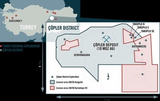 Çöpler District Prospects & Tenements (CNW Group/Alacer Gold Corp.)