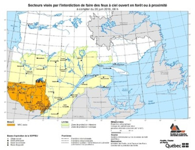 Secteurs visés par l'interdiction de faire des feux à ciel ouvert en forêt ou à proximité à compter du 20 juin 2016, 08 h (Groupe CNW/Société de protection des forêts contre le feu)