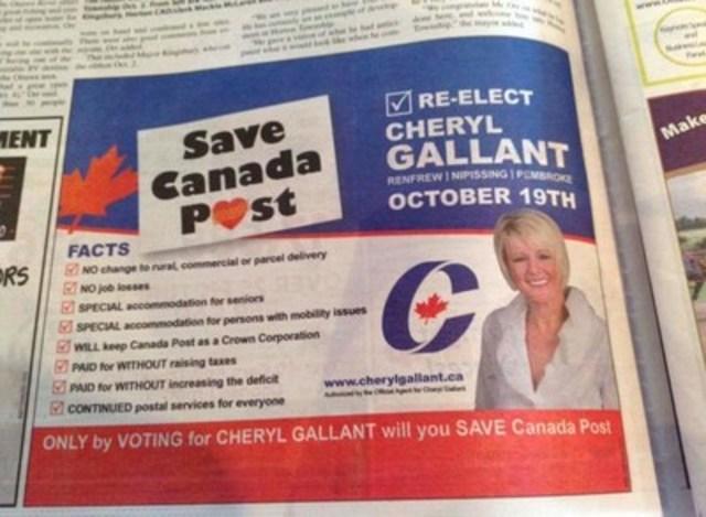Cheryl Gallant, députée conservatrice, utilise le logo de la campagne du STTP et répand un flot incessant de mensonges selon le STTP (Groupe CNW/Syndicat des travailleurs et travailleuses des postes)