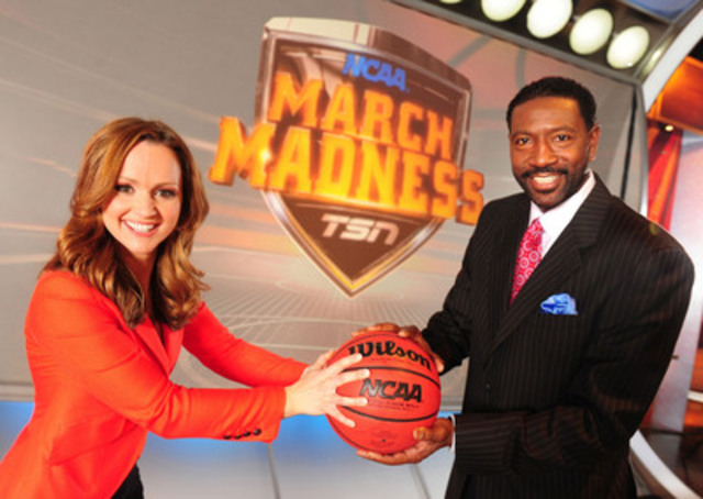 TSN NCAA® MARCH MADNESS® host Kate Beirness and Sam Mitchell (CNW Group/TSN)