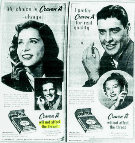 A cigarette ad from the 1950s (CNW Group/Canadian Cancer Society (National Office))