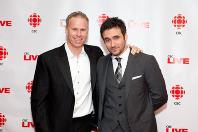 Stars of CBC Television's Winter Season, Allan Hawco (right) of Republic of Doyle and Gerry Dee (left), star of new comedy series Mr. D, hit the red carpet tonight in Toronto for a sneak-preview screening of their shows. (CNW Group/CBC/RADIO-CANADA)