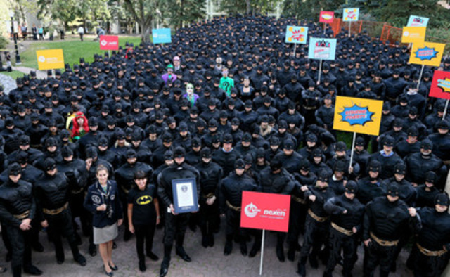 Nexen employees set a Guinness World Records achievement for the Largest Gathering of People Dressed as Batman. (CNW Group/Nexen)