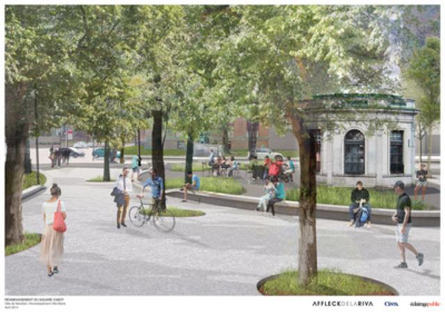 Un aperçu du réaménagement du square Cabot. (Groupe CNW/Ville de Montréal - Arrondissement de Ville-Marie)