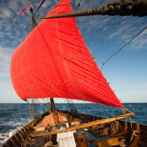 A courageous crew of sailors from around the world set sail last week aboard the world's largest Viking ship. Departing from her homeport in Haugesund, Norway, on Sunday, April 24, Draken Harald Hårfagre and her crew committed to the daring journey to cross the North Atlantic for her Expedition America. The great ship will be joining the fleet of international tall ships in Toronto for the Redpath Waterfront Festival presented by PortsToronto from July 1 to 3. (CNW Group/Water's Edge Festivals & Events)