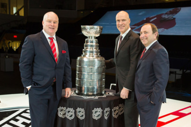 Scott Moore, President of Sportsnet and NHL, Rogers Media, left, Mark Messier, Hall of Fame member and Stanley Cup Champion, center, Gary Bettman, NHL Commissioner, right, during the Rogers NHL Upfront at Mattamy Athletic Centre in Toronto. (CNW Group/Rogers Media)