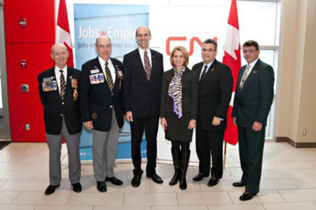 The Honourable Steven Blaney, Minister of Veterans Affairs (Centre) - with (L-R) Bill Fecteau, Past President, The Royal Canadian Legion, Kingsway branch; Mac Torrie, President, The Royal Canadian Legion, Kingsway branch; Bronwen Evans, Managing Director, True Patriot Love Foundation; Michael Cory, Senior Vice President, Western Region, CN and Rick MacMillan, Veteran and CN Employee - were proud to announce today 2000 jobs for Veterans at CN through a new program for hiring Veterans, a new Jobs-Emplois email address to connect employers to transitioning Veterans, and the newly created Veterans Transition Advisory Committee. (CNW Group/Veterans Affairs Canada)
