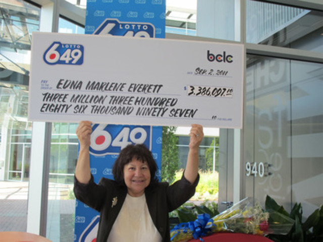 Marlene Everett, $3.4 million Lotto 6/49 winner, Squamish, BC. (CNW Group/BC Lottery Corporation)