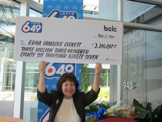Marlene Everett, $3.4 million Lotto 6/49 winner, Squamish, BC. (CNW Group/BC Lottery Corporation)