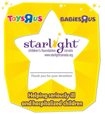 "Toys""R""Us, Canada encourages customers to give back in-store or online at www.toysrus.ca/star. (CNW Group/Starlight Children's Foundation Canada)"