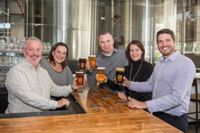 Brasseur de Montréal and Six Pints celebrated their new partnership today. From left to right: Marc-André Gauvreau, Co-Founder, Brasseur de Montréal, Denise Mérineau, Co-Founder, Brasseur de Montréal; Will Meijer, President, Six Pints, Sandra Gagnon, Commercial Manager, Six Pints, Patrick D'Anjou, Vice-President of Sales, Quebec, Molson Coors Canada. (CNW Group/Brasseur de Montréal)