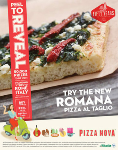 Pizza Nova is giving away 50,000 Prizes and launches new ROMANA - Pizza al Taglio (CNW Group/Pizza Nova)