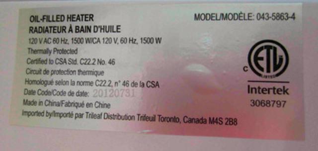 Exemple d'étiquette du radiateur à huile Garrison de 1 500 W (#043-5863-4) (Groupe CNW/Midea International)