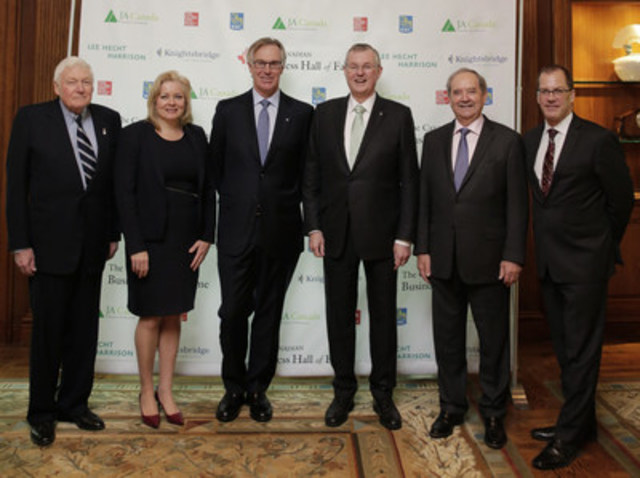 L.R. Wilson (Chancellor of the Order of the Business Hall of Fame), Linda Hasenfratz, Gordon M. Nixon, W. Edmund Clark, Frank Hasenfratz, Keith Publicover (President & CEO of JA Canada). Not pictured: Rick George.  (CNW Group/Canadian Business Hall of Fame)