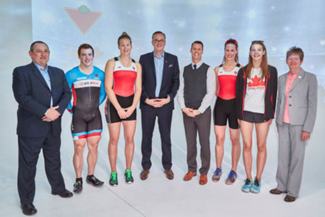 Canadian Tire Corporation and Own the Podium announce their three-year partnership at a press conference in Toronto. (L-R) Mark Merritt, VP, CTC; Joel Archambault, Cycling; Karen Lefsrud, Rowing; Duncan Fulton, SVP, CTC; Mark Tewksbury, Olympic Gold Medallist, Swimming; Olivia King, Rowing; Penny Oleksiak, Swimming; Anne Merklinger, CEO, Own the Podium. (CNW Group/CANADIAN TIRE CORPORATION, LIMITED)