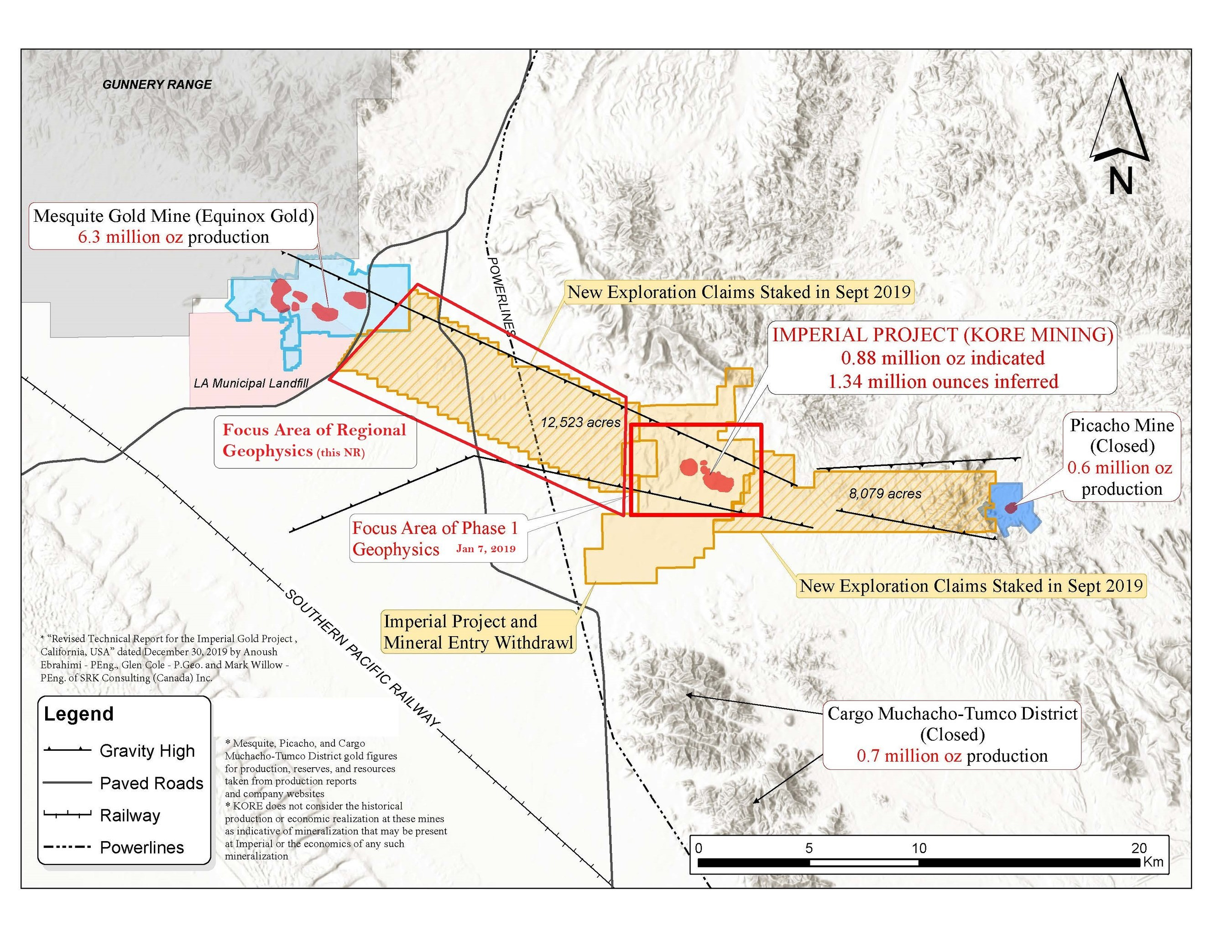 FIGURE 3: IMPERIAL GOLD PROJECT CLAIMS MAP (CNW Group/Kore Mining)