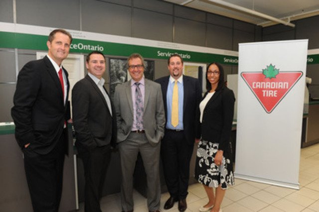 ServiceOntario opens new Retail Office in the Yonge and Davenport Canadian Tire store. Pictured at the official opening are (L-R): Michael Broderick, SVP, Automotive, Canadian Tire; David Hicks, SVP, Dealer Relations and Store Operations, Canadian Tire; Larry McCaw, Dealer, Canadian Tire; Ted Davis, President, RFNX Management; and Jennifer Gayle, Manager, Issuer Office, Government Services. (CNW Group/CANADIAN TIRE CORPORATION, LIMITED)