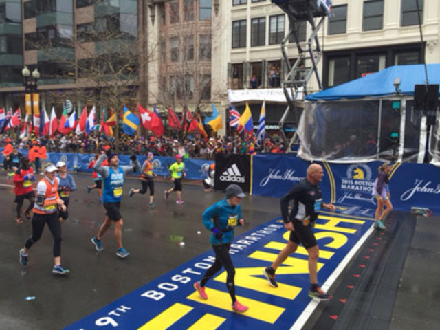 Dr. Jean Marmoreo, 72, of Toronto, placed first among women age 70-74 in the 119th Boston Marathon run on April 20, 2015. It marked the sixth consecutive year Marmoreo has placed first in her age group. She finished in 4 hours and 56 seconds in what was her final marathon. (CNW Group/Dr. Jean Marmoreo)