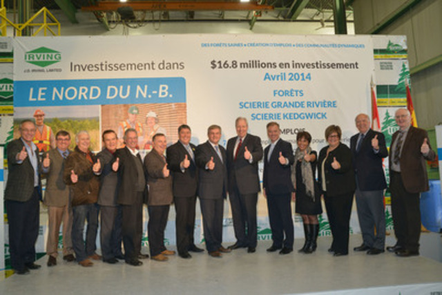 Alain Oullette (JDI), Robert Pinette (JDI) Carmel St. Amand (Mayor of St. Leonard), Jean-Paul Savoie (Mayor of Kedgwick), Senator Percy Mockler, MLA Yvon Bonenfant, Minister Soucy, Premier Alward, Jim Irving, Minister Robichaud, MLA Martine Coulombe, Minister Dubé, Gaston Poitras (JDI), Blake Brunsdon (JDI) (CNW Group/J.D. Irving, Limited)