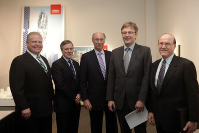 From left to right: Councillor Doug Ford; Jim Ritchie, Senior Vice President, Tridel; Leo DelZotto, President, Tridel; Rudy Wallman, Wallman Architects; J. Lorne Braithwaite, President & CEO, Build Toronto. (CNW Group/Build Toronto Inc.)