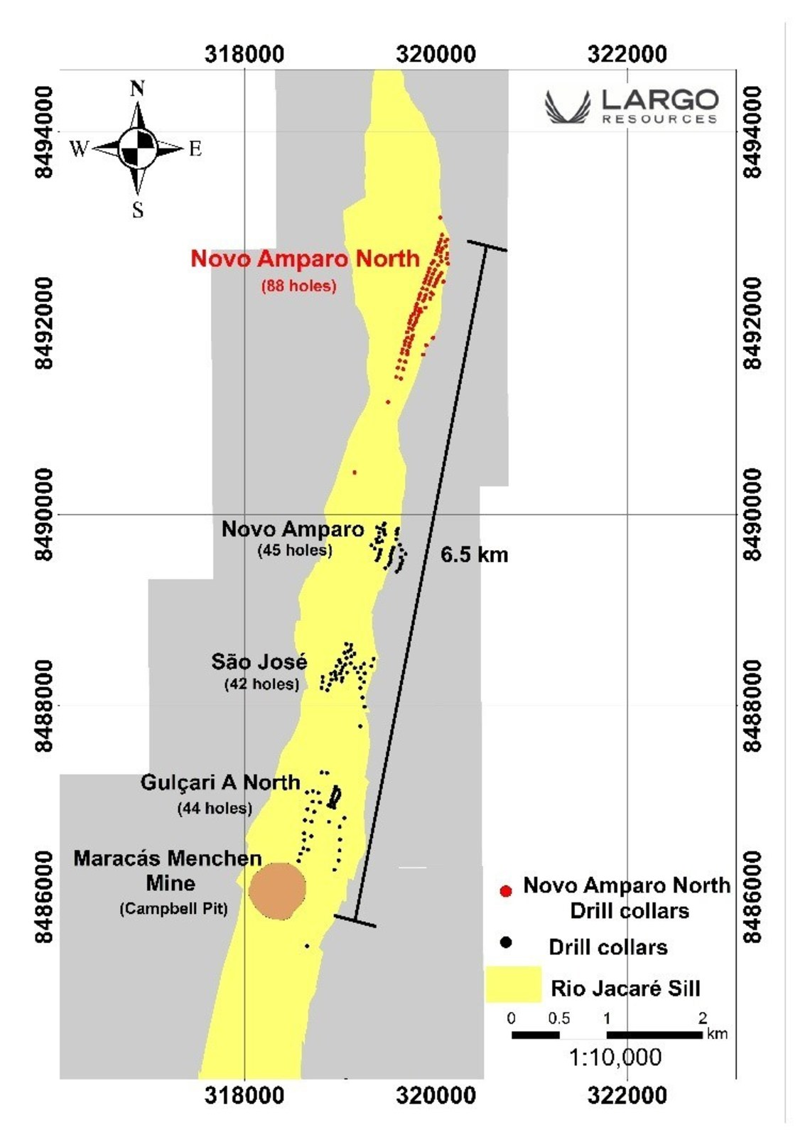 Figure 1:  Rio Jacaré Sill Showing the Maracás Menchen Mine - Campbell Pit and Satellite Deposits