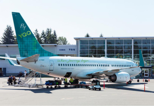 A glimpse of the newly painted 737-700 series aircraft to be used by Fly YQQ, a new Ultra Low Cost Carrier offering non-stop service to Honolulu from the Comox Valley Airport on Vancouver Island (CNW Group/Comox Valley Airport)