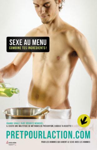 Sexe au menu. Combine tes ingrédients! Nouvelle campagne d'information à l'intention des hommes gais, bisexuels, des hommes trans et des hommes qui aiment le sexe avec des hommes. (Groupe CNW/COCQ-SIDA)
