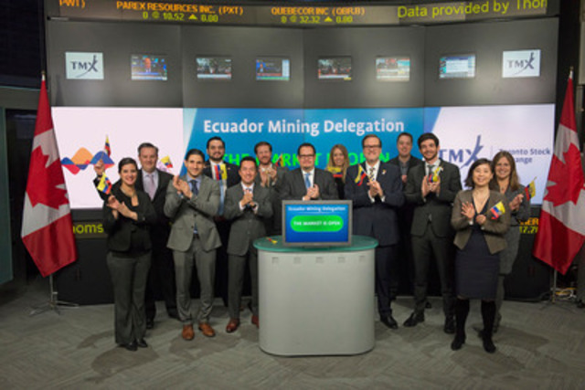 Hon. Javier Córdova, Ecuadorian Minister of Mining, and, H.E. Nicolas Trujillo, Ambassador of Ecuador to Canada, joined Ungad Chadda, Senior Vice President, Toronto Stock Exchange to open the market, welcoming the world's mining companies to invest in Ecuador, which has some of the richest undeveloped gold and copper deposits in the world. There are currently more than 9 mining companies with 15 projects in Ecuador listed on TSX and TSX Venture Exchange. (CNW Group/Toronto Stock Exchange)