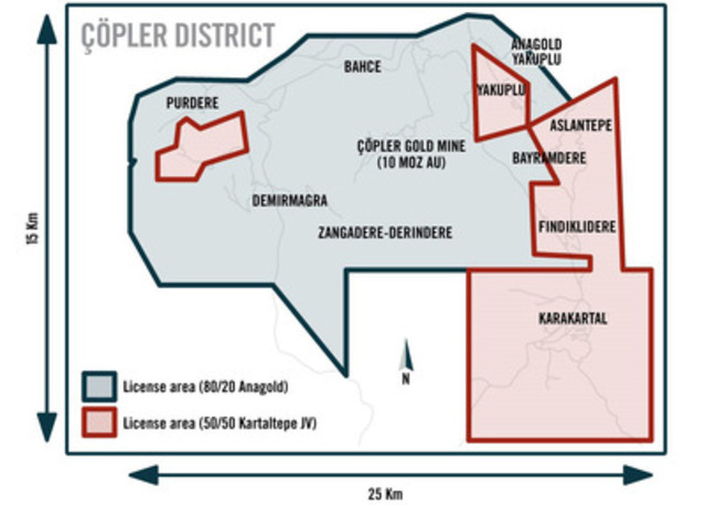 Figure 8: Çöpler District Results From 80/20% (Anagold) Area (CNW Group/Alacer Gold Corp.)