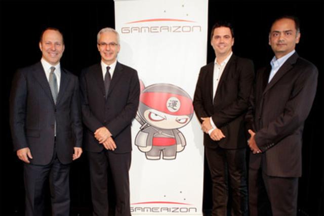 Michel Leblanc, président et chef de la direction de la Chambre de commerce du Montréal métropolitain, Alex Sakiz, chef de la direction de Gamerizon, Chris Arsenault, associé directeur de iNovia Capital et Divesh Sisodraker, partenaire de Vanedge Capital à la conférence de presse de Gamerizon le 15 septembre 2011. (Groupe CNW/Gamerizon)