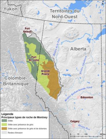 Figure 1. Carte générale illustrant l'emplacement de la formation de Montney. Modification de la carte du Geological Atlas of the Western Canada Sedimentary Basin. (Groupe CNW/L'Office national de l'énergie)