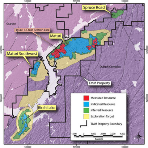 Figure 2 - Twin Metals Project Exploration Target Potential (CNW Group/Duluth Metals Limited)