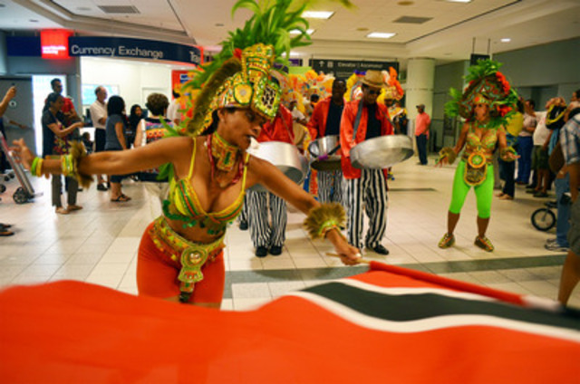 "Toronto Pearson kicked off the Scotiabank Toronto Caribbean Carnival weekend with a celebratory parade through Terminals 1 & 3 led by the ""Pan Man Pat"" and the Bahamian Junkanoo Legends. (CNW Group/Greater Toronto Airports Authority)"