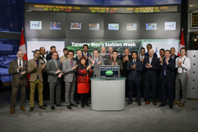 Jeff Rustia, Founder & Executive Director, Toronto Men's Fashion Week joined Ungad Chadda, Senior Vice President, Toronto Stock Exchange to open the market. Toronto Men's Fashion Week is a celebration of the best in menswear design, showcasing emerging and established brands for fall 2015. Toronto Men's Fashion Week will run from February 23 - March 3 at 444 Yonge Street. (CNW Group/TMX Group Limited)