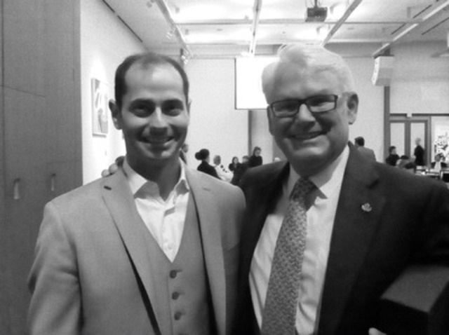 Corporate Knights CEO Toby Heaps (left) with former B.C. Premier Gordon Campbell, recipient of the 2015 CK Award of Distinction. Campbell gave an inspiring speech at the Corporate Knights Best 50 Gala Tuesday night at the Art Gallery of Ontario (CNW Group/Corporate Knights Inc.)