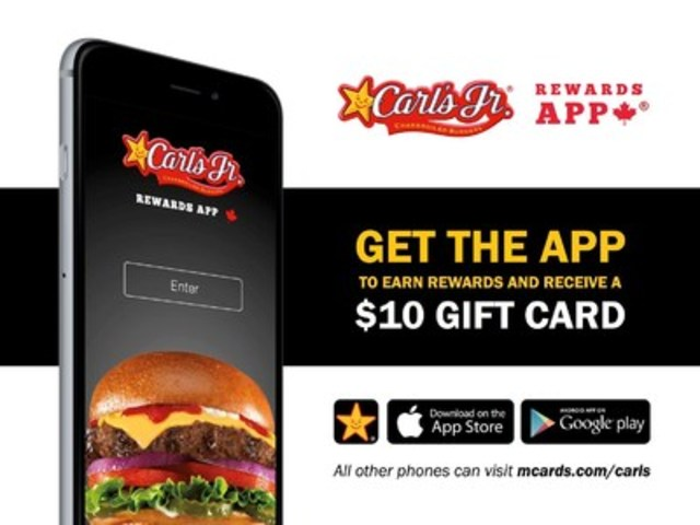 Great news for burger lovers: Download the free Carl's Jr.® Rewards App and receive a $10 welcome gift card on your mobile phone. Developed by PayWith, the Carl's Jr. Rewards App seamlessly combines mobile payment, gifting and rewards for its customers. (CNW Group/PayWith Worldwide Inc.)