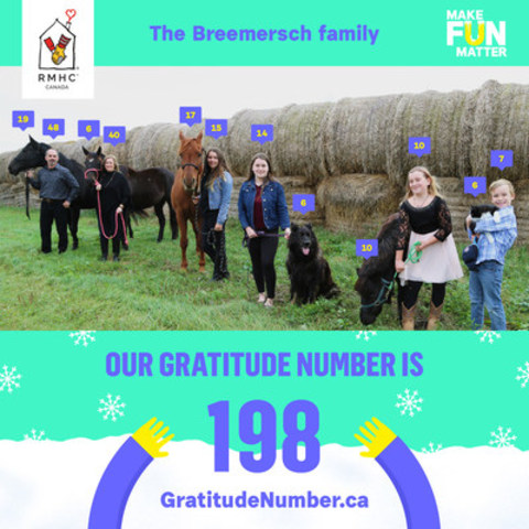 The Breemersch family stayed at RMHC Manitoba, three hours away from their hometown outside Brandon, Manitoba, while daughter Katrina was treated for a brain tumour. This holiday season, they're celebrating family togetherness through their family's #GratitudeNumber, while helping more families of sick children stay together. (CNW Group/Ronald McDonald House Charities of Canada)