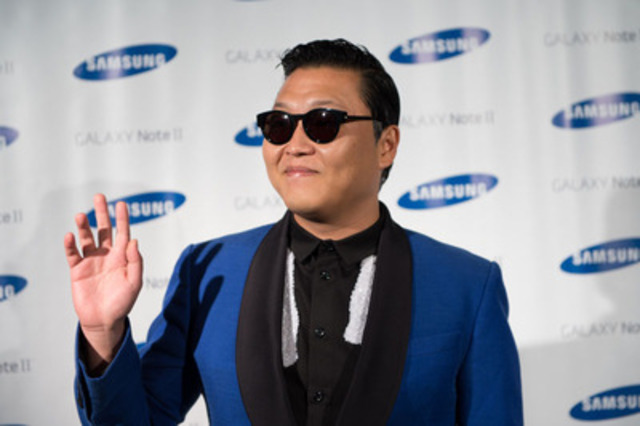 Samsung celebrates the launch of the GALAXY Note II Gangnam Style with PSY in his first Canadian appearance. (CNW Group/Samsung Electronics Canada Inc.)