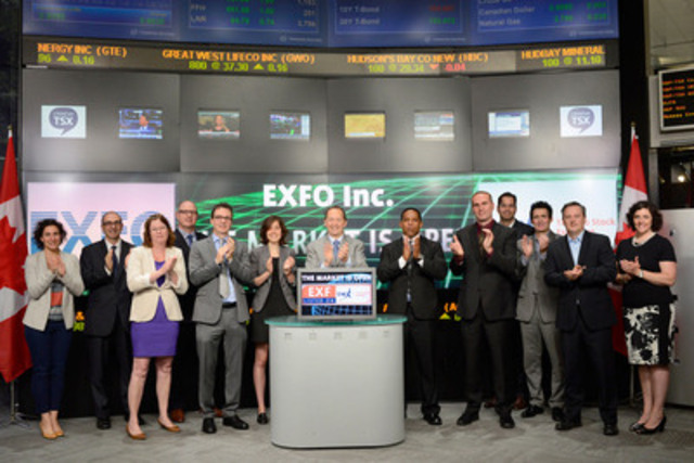 Germain Lamonde, CEO, EXFO Inc. (EXF) joined Steven Mills, Regional Head, TSX Company Services, Toronto Stock Exchange & TSX Venture Exchange to open the market to celebrate 15 years as a Toronto Stock Exchange listed company. EXFO Inc. is a provider of next-generation test and service assurance solutions for wireless and wireline network operators and equipment manufacturers in the global telecom industry. The company offers solutions for the development, installation, management and maintenance of converged, IP fixed and mobile networks. EXFO Inc. commenced trading on Toronto Stock Exchange on July 5, 2000. For more information please visit www.exfo.ca. (CNW Group/TMX Group Limited)