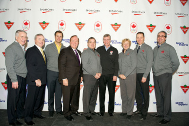 Adding to its new Canadian Olympic and Paralympic Team partnerships, Canadian Tire celebrates its support of Hockey Canada, Canada Games, Alpine Canada Alpin, Snowboard Canada, Skate Canada and the Canadian Soccer Association. Stephen Wetmore, Canadian Tire Ltd. President (fourth from right) is joined by representatives from these organizations. (CNW Group/CANADIAN TIRE CORPORATION, LIMITED)