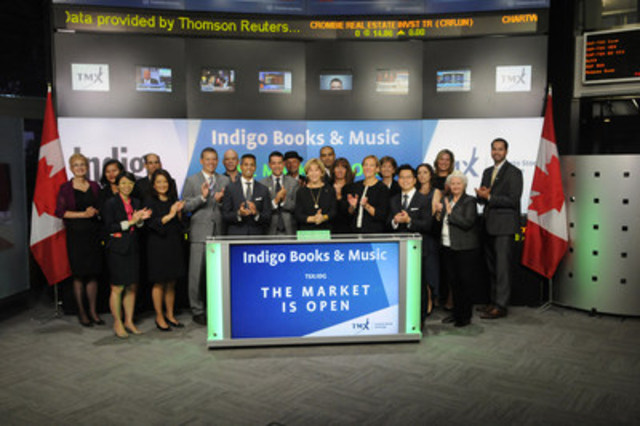 Heather Reisman, Chief Executive Officer & President, Indigo Books & Music Inc. (IDG), joined Michael Kousaie, Head, Business Development, Technology, Toronto Stock Exchange and TSX Venture Exchange to open the market to celebrate 20 years listed on Toronto Stock Exchange. Headquartered in Toronto, Indigo Books & Music Inc., operates stores throughout Canada and has an online presence at indigo.ca offering books, toys, home décor, stationery and gifts. As of August 9, 2016, the Company operated 89 superstores and 123 small format stores. Indigo Books & Music Inc. commenced trading on Toronto Stock Exchange on December 4, 1996. (CNW Group/TMX Group Limited)