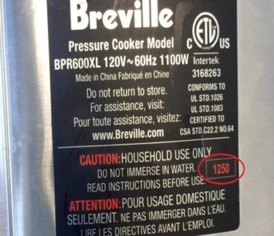 Breville Fast Slow Cooker - Model BRP600XL - identification label located on the back (CNW Group/Breville Canada)