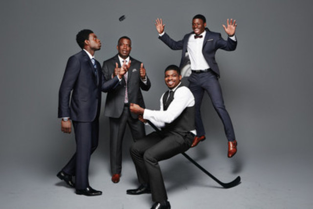 The Subban Men in RW&CO. - –Suit Up, It's Game Time! Montreal Canadiens defenseman and alternate captain P.K. Subban and his brothers Jordan (defenseman, Vancouver Canucks) and Malcolm (goaltender, Boston Bruins) as well as proud dad Karl (retired school principal) are the new faces of Canadian retailer RW&CO.'s Fall 2015 suiting campaign. (CNW Group/Reitmans (Canada) Limited)