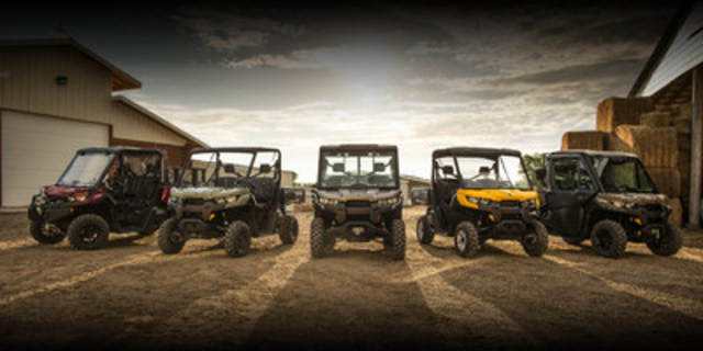 Can-Am Defender family: BRP's solution for consumers in the utility side-by-side market. (CNW Group/BRP Inc.)