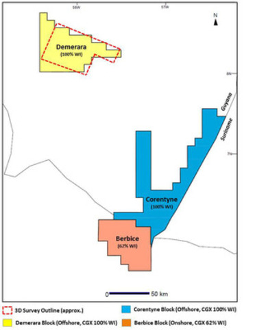 CGX Acreage Position in Guyana + Upcoming 3D Survey Outline on Demerara Block (CNW Group/CGX Energy Inc.)