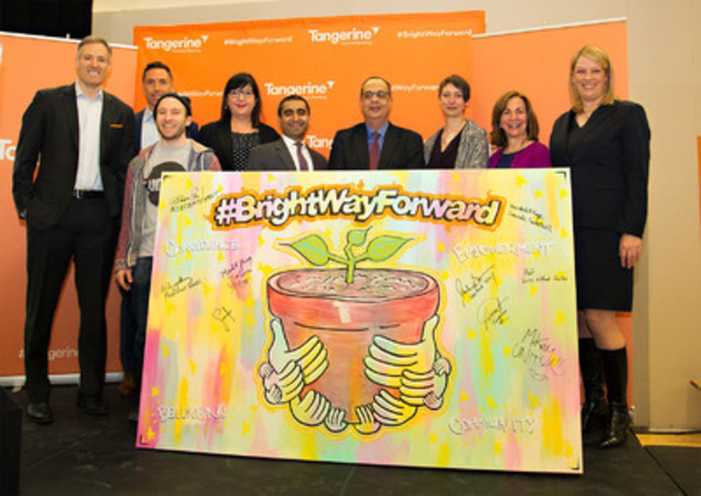 Tangerine President and CEO, Peter Aceto is joined by Canadian basketball legend Steve Nash and partners - Canada Basketball, Unity Charity, United Way of Toronto, ACCES Employment, YMCA of Greater Toronto, Youth Without Shelter and FoodShare - at the launch of #BrightWayForward. (CNW Group/Tangerine)