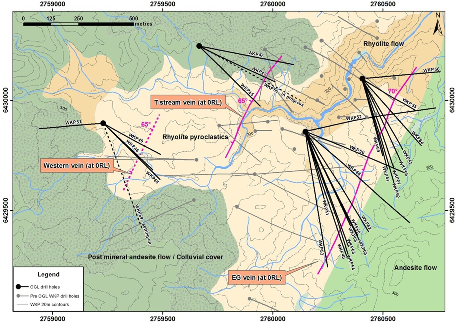 Figure 1: Plan View of geology and distribution of known veins at WKP